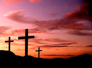 Crosses and sunset
